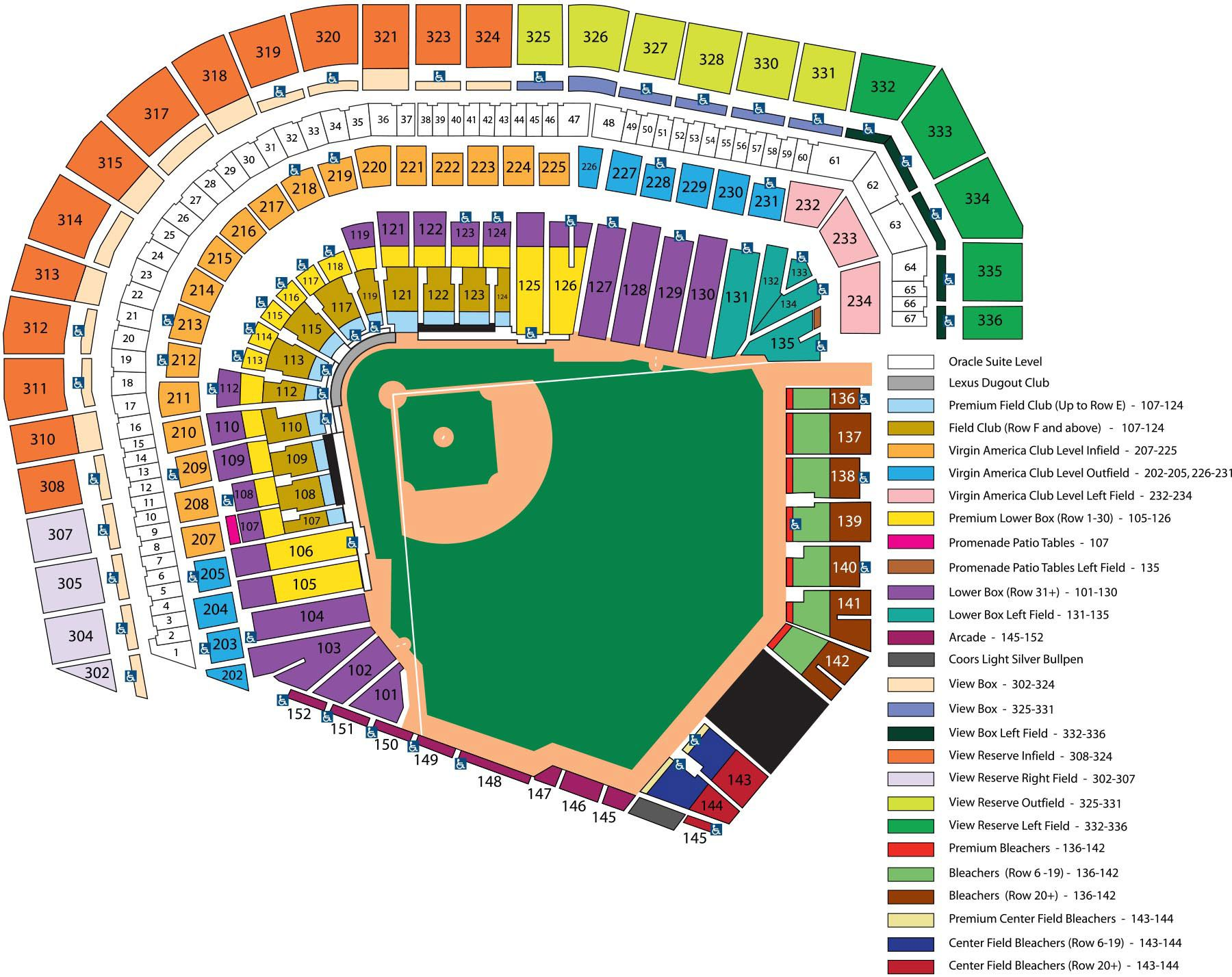 At Amp T Park Seating Chart Mlb Com Giants Tickets Giants Stadium Sf Giants