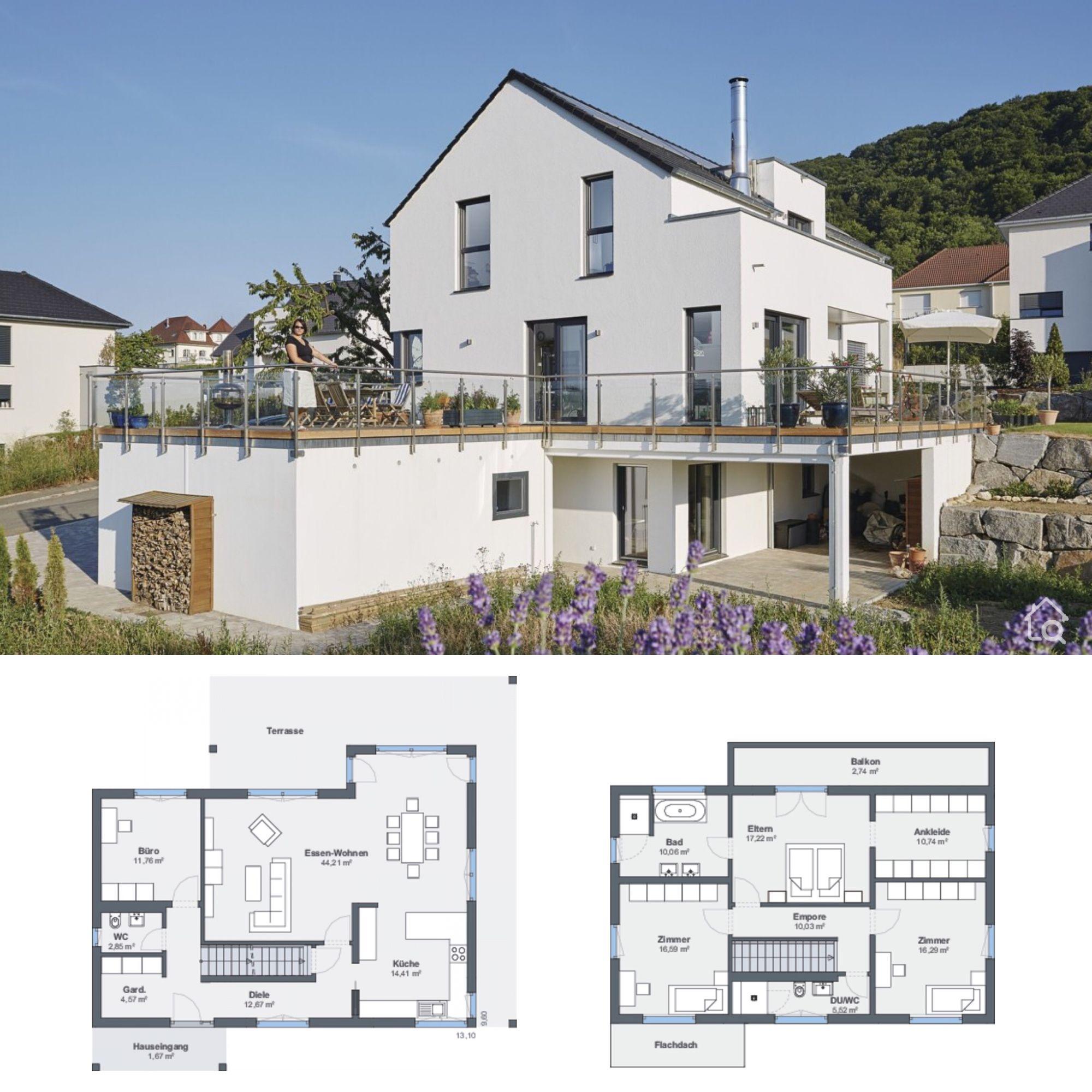 Einfamilienhaus Modern Am Hang Bauen Haus Grundriss Ideen Mit Einliegerwohnung Satteldach Garage In 2020 Haus Grundriss Haus Einfamilienhaus