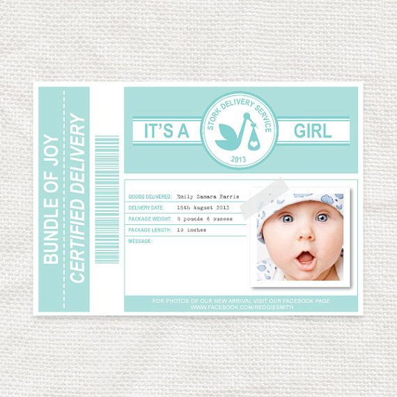 Stork Delivery Slip Photo Birth Announcement Printable By Idiyjr