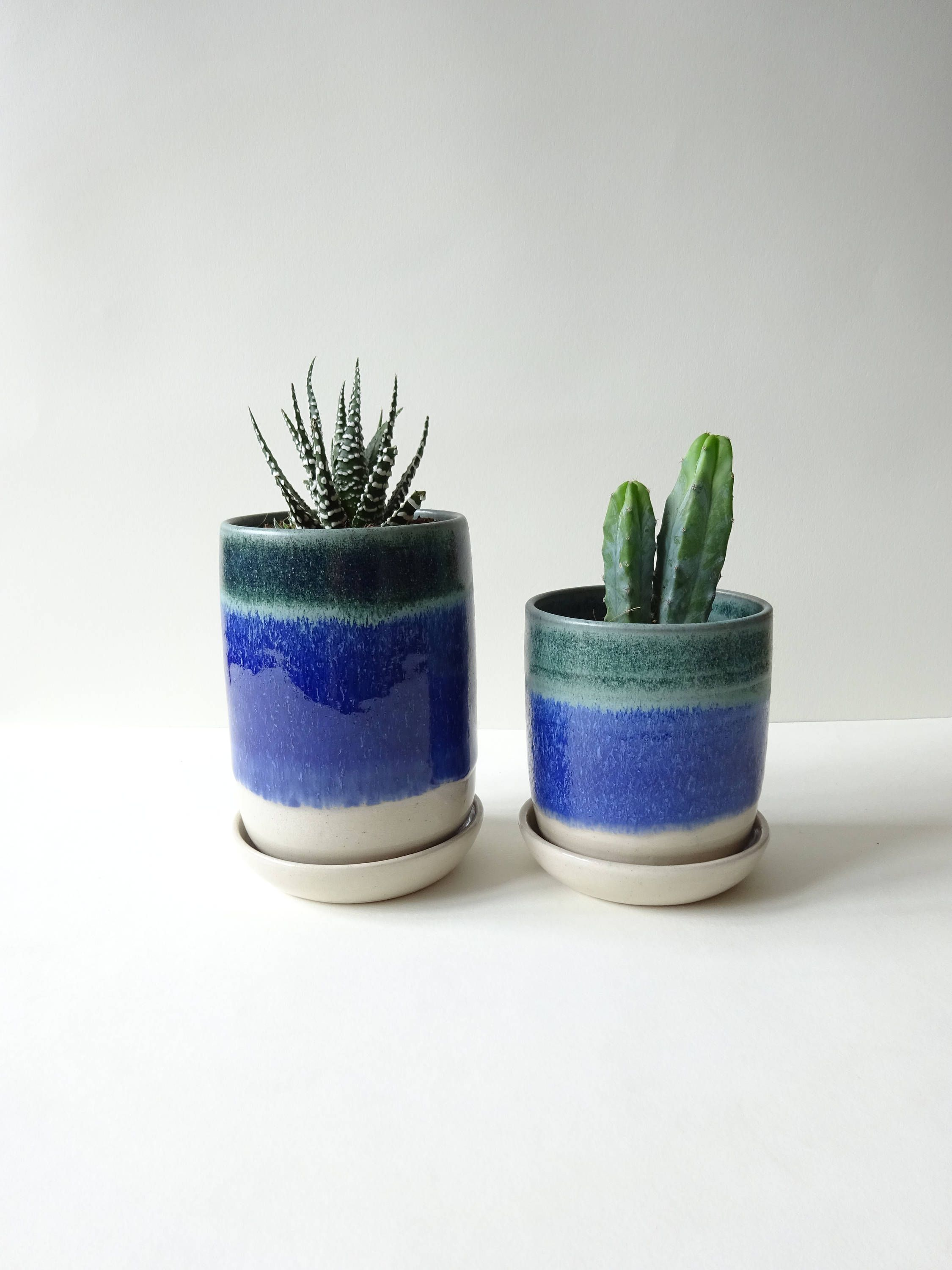 Set 2 Plant Pots With Drainage Hole And Tray Saucer Blue White Vase Handmade Ceramic Succulent Cacti Small Plants
