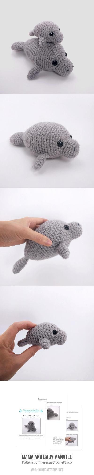 Mama and Baby Manatee amigurumi pattern by Theresas Crochet Shop ...