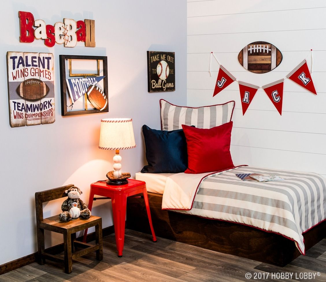 Create An All Star Space For Your Littlest Sports Fan Football Bedroom Decor Bedroom Decor Football Bedroom