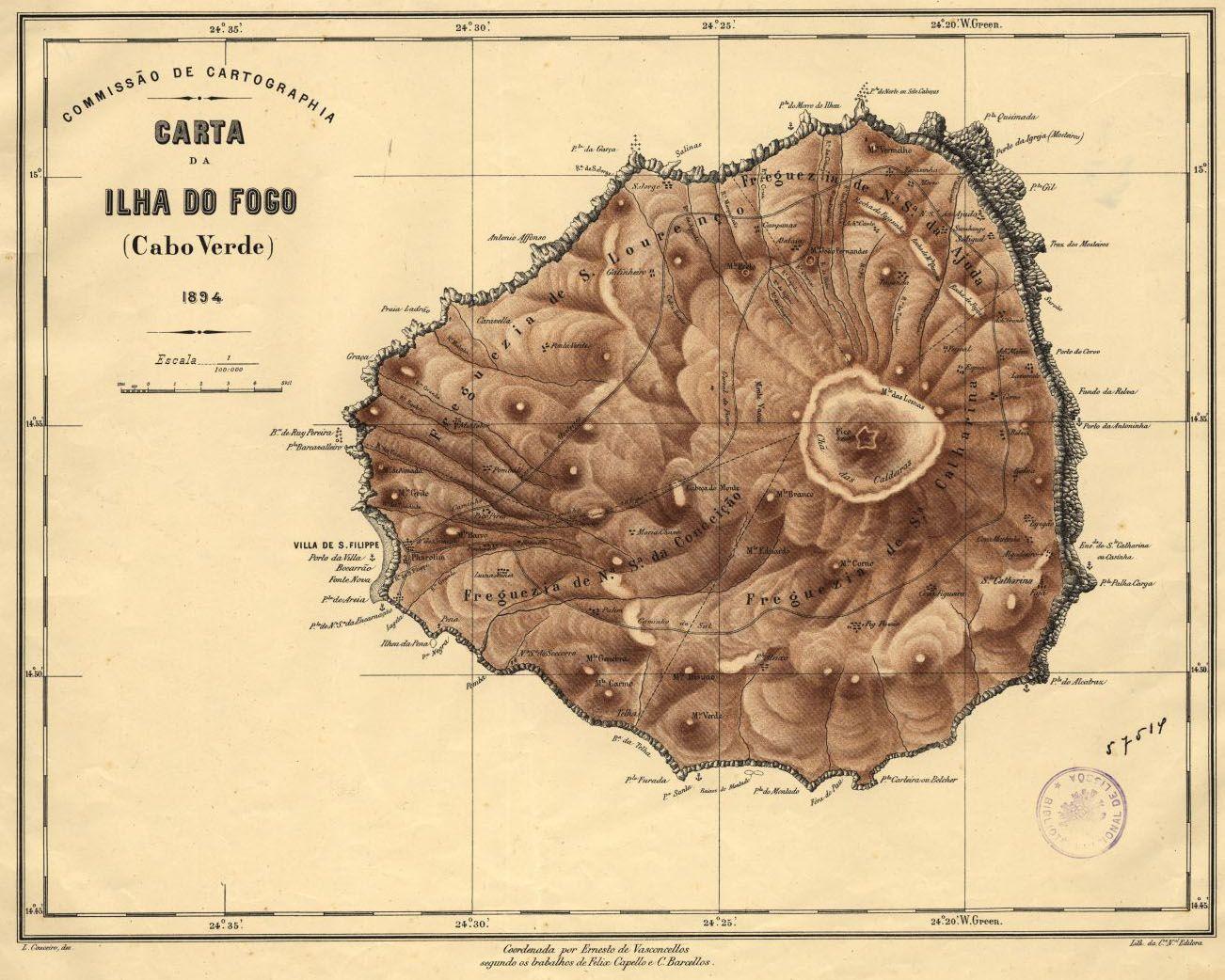 1894 Cap Vert Ilha Do Fogo Cartographie Cartes Anciennes