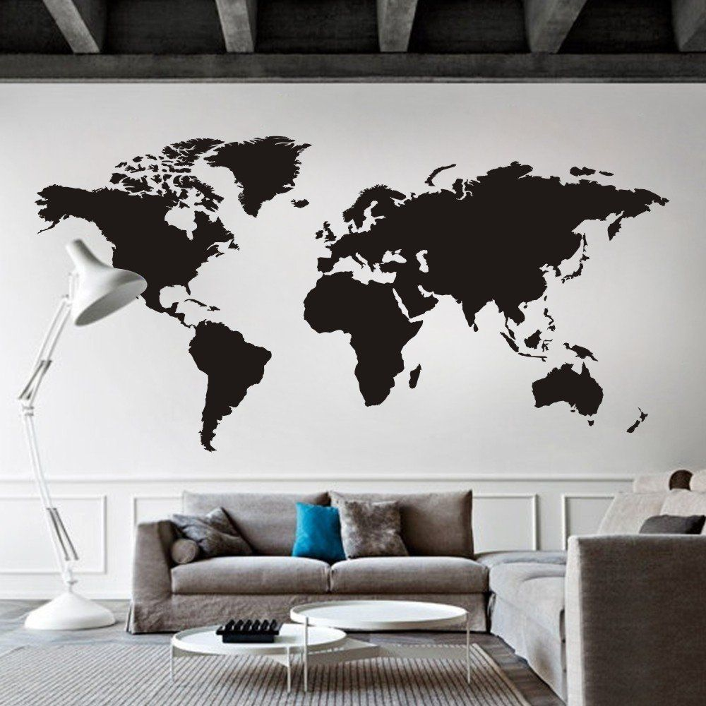 Amazon world map wall decal removable map decal vinyl map wall amazon world map wall decal removable map decal vinyl map wall decor world gumiabroncs Image collections