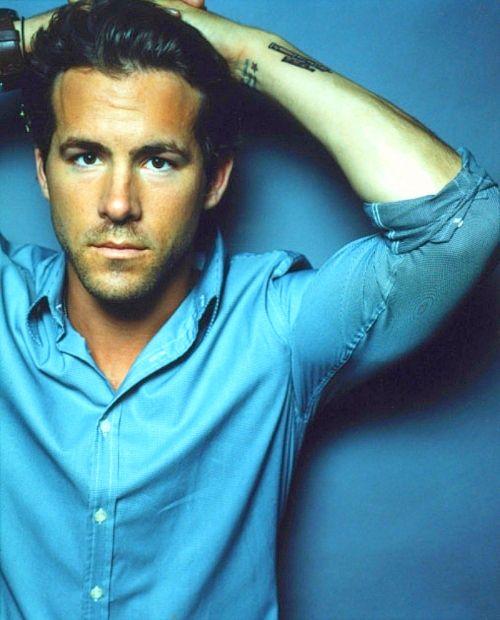 Ryan Reynolds in blue custom dress shirt