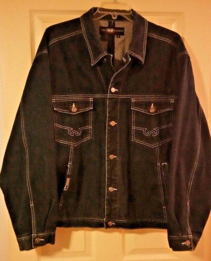 Wu Wear Vintage Denim Jacket Dark Blue Size Xl Rare Wu Tang Clan 1990 S Vintage Denim Jacket Denim Jacket Blue Denim [ 1000 x 811 Pixel ]