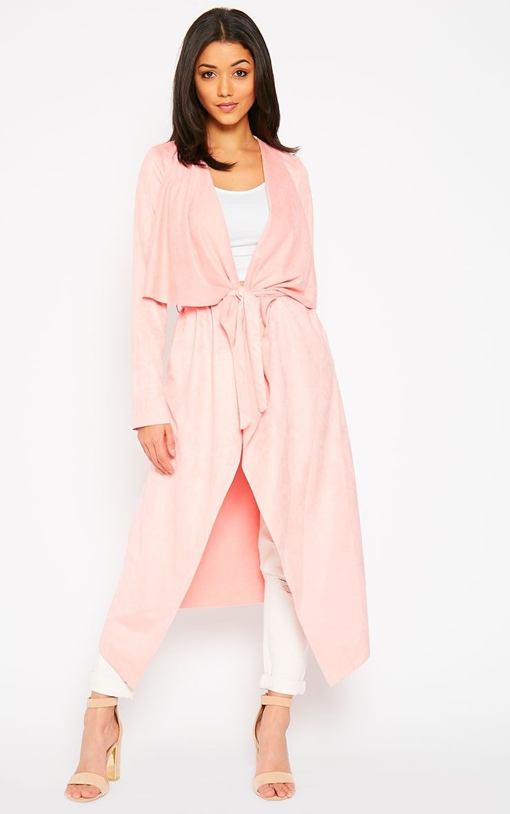 Liberty Baby Pink Suede Waterfall Coat thumbnail 0 | Shopping list ...