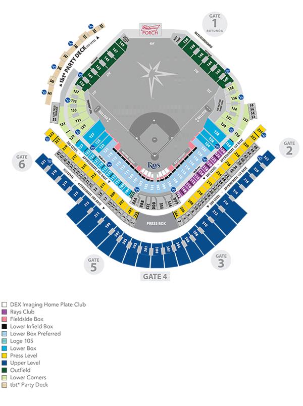 Tropicana Field Seating Map Tampa Bay Rays Tampa Bay