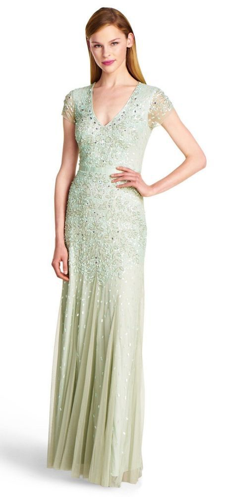 $328 Adrianna Papell Mint Green Beaded Mesh Vneck Mermaid Gown 8 NEW ...