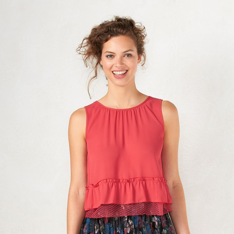 Disney's Snow White A Collection by LC Lauren Conrad Crop Lace Top - Women's, Size: Medium, Med Red