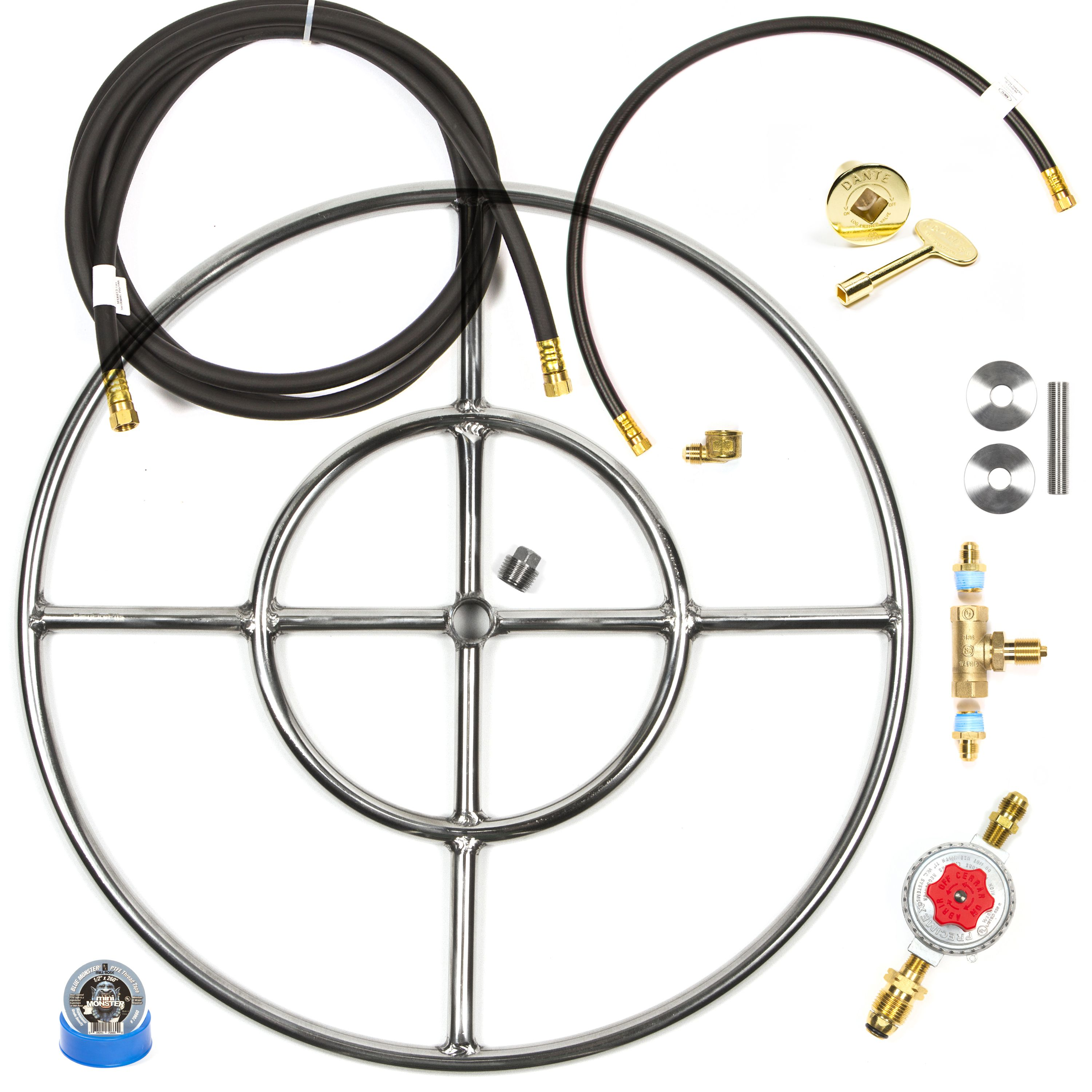 Fr24ck Complete Deluxe Do It Yourself Diy 24 Double Ring Fire Table Fie Pit Kit From Lp Tank Connection To Hoses Key Valve