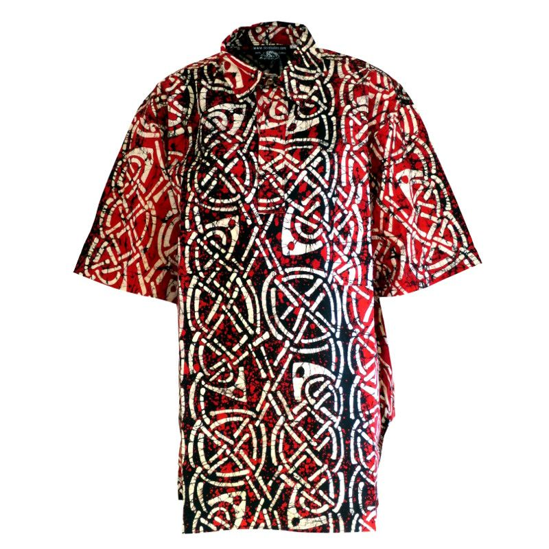 Knotwork Red And Black Batik Shirts Large