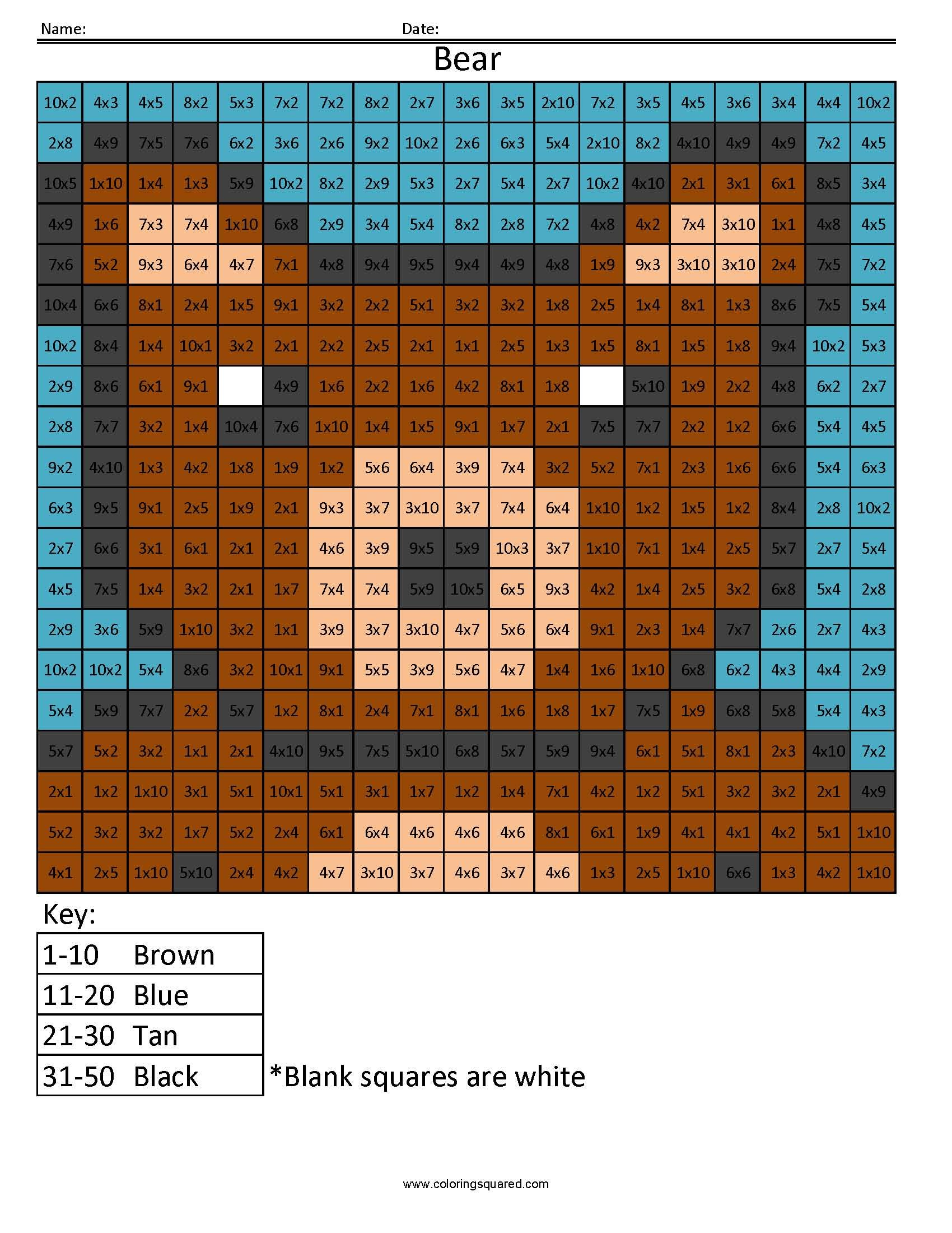 Free coloring page key - Free Math Coloring Page Me4 Bear Color Jpg 1 700