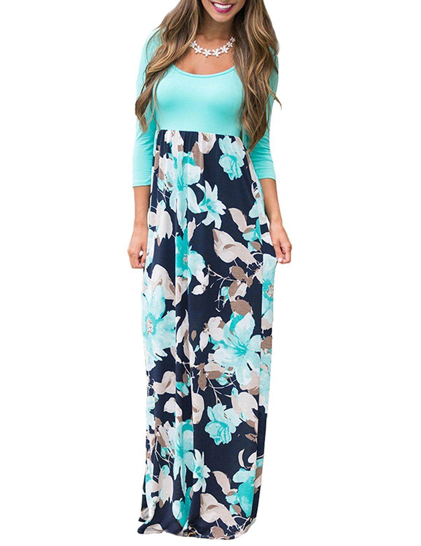 Dunea womenus maxi dress floral printed autumn sleeve casual