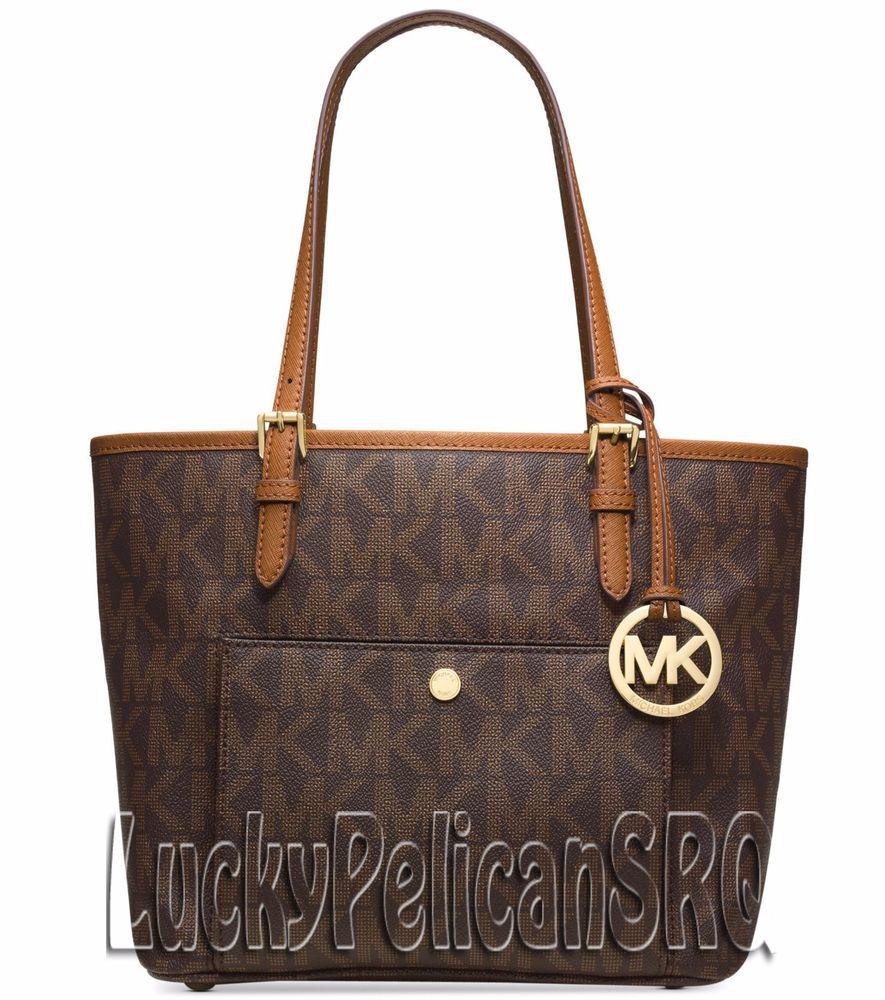 d77bf31d2b6d Michael Kors Jet Set Medium PVC Snap Pocket Tote Bag Handbag Brown NWT   MichaelKors  TotesShoppers