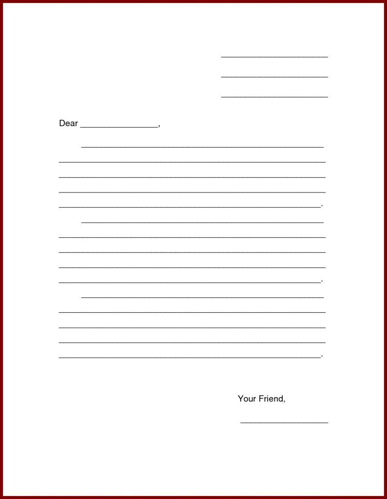 Image Result For Friendly Letter Template Pdf Friendly Letter Template Letter Writing Template Letter Template For Kids