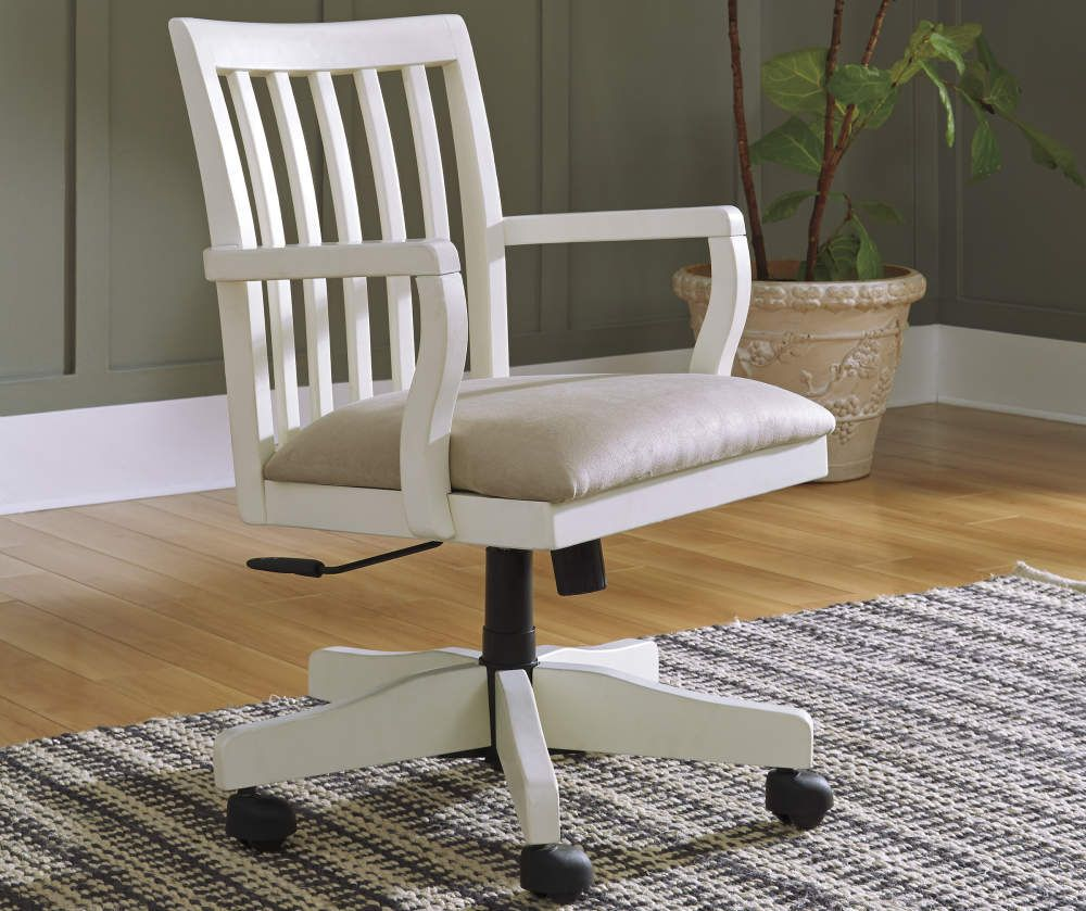Signature Design By Ashley Sarvanny Cream Office Chair Big Lots In 2020 Chic Office Chair Farmhouse Office Chairs Wooden Office Chair