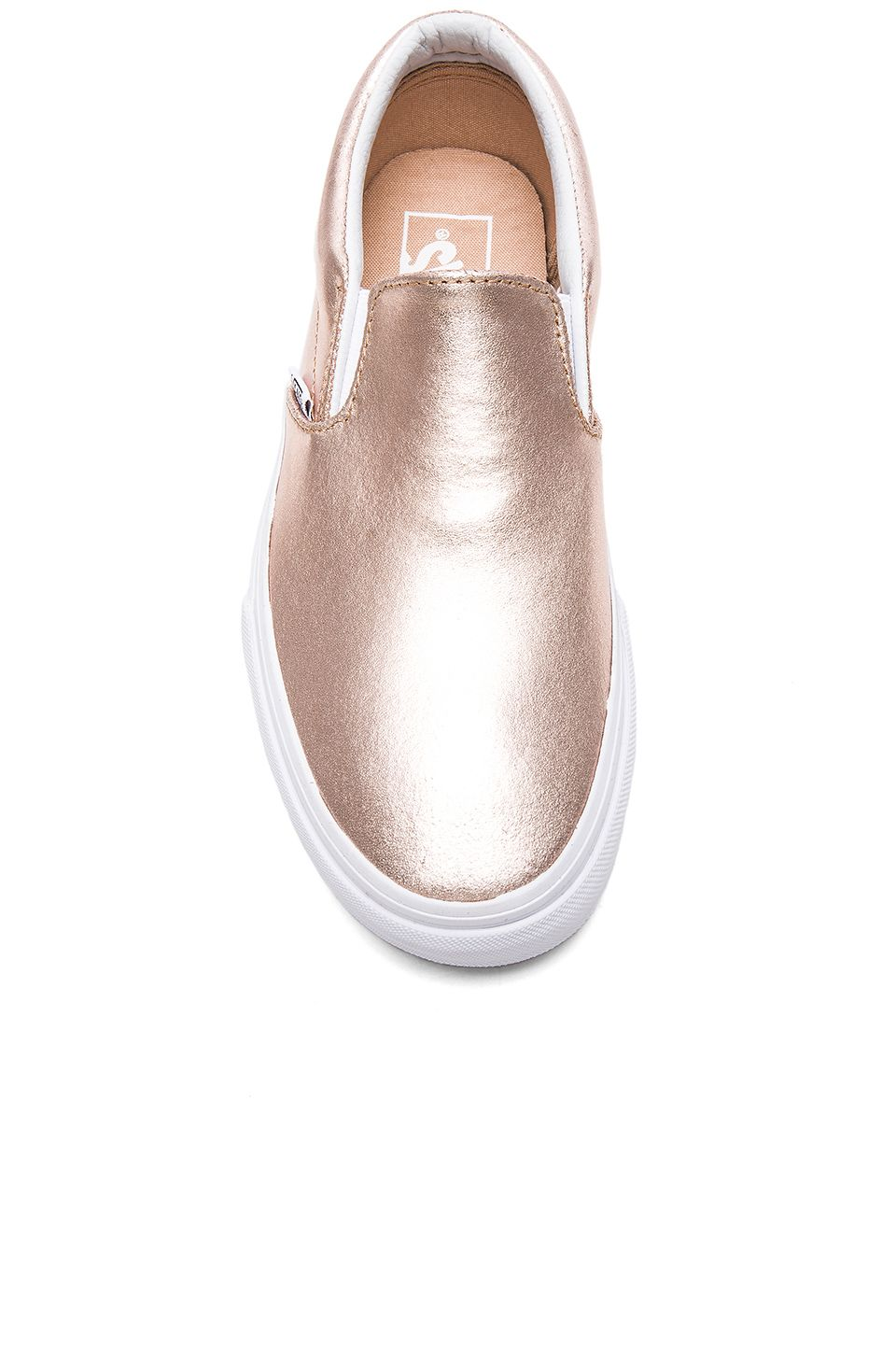 1f4e03c303c Vans Metallic Leather Classic Slip-On in Rose Gold