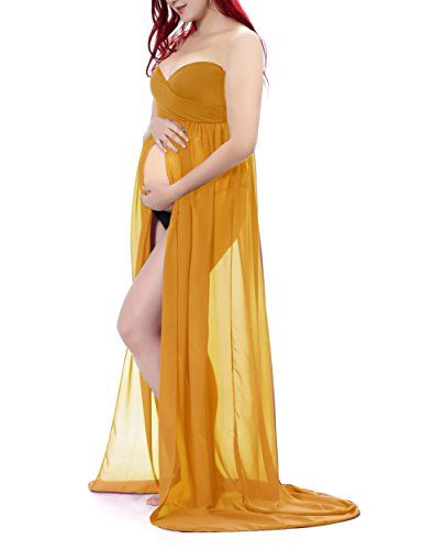 a48047675354d Saslax Maternity Split Front Sheer Chiffon Maternity Gown Maxi Bridesmaid  Dress for Photos Shoot >>> Learn more by visiting the image link.