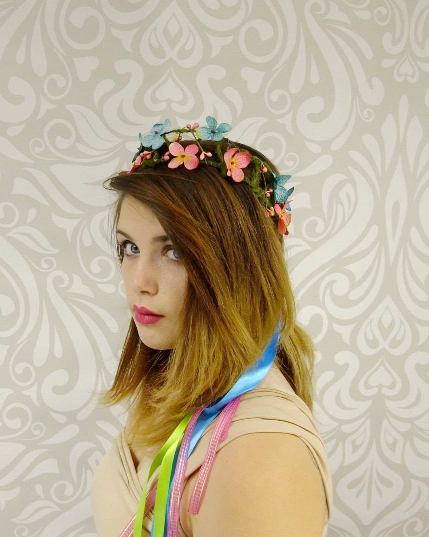 rainbow bridal flower crown, boho flower crown, bridal hair