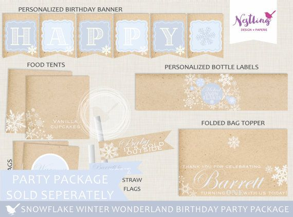 Snowflake Winter Wonderland Invitation Set // par NestlingDesigns