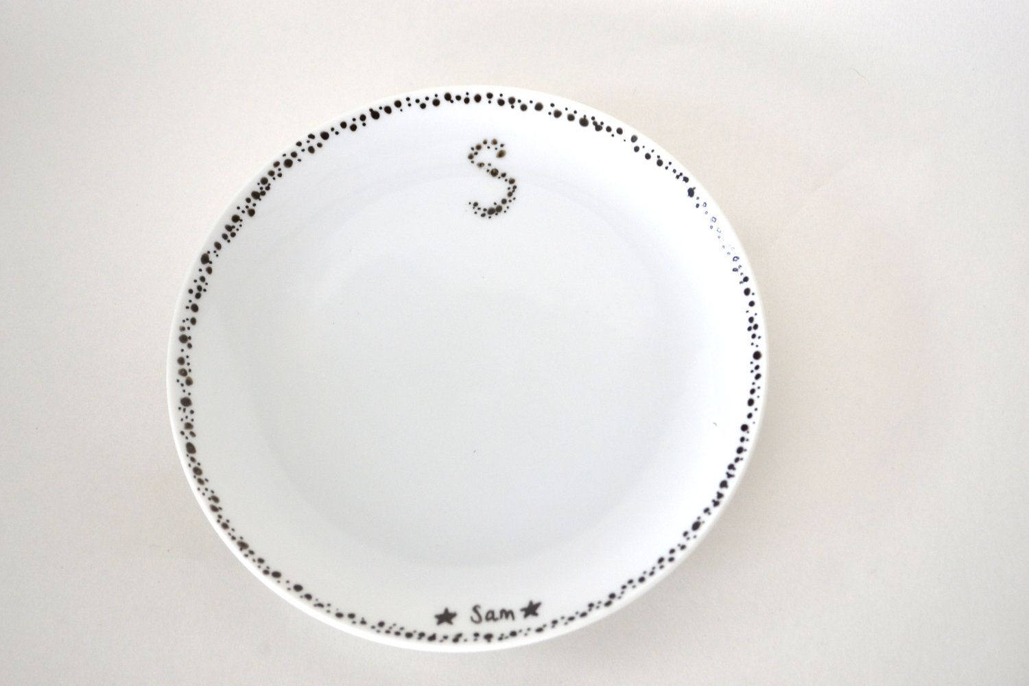 Recycled Plate: Tiny Bubbles - Reclaimed Plate Hand Painted with Initials and Names for Children or Adults. $8.00, via Etsy.
