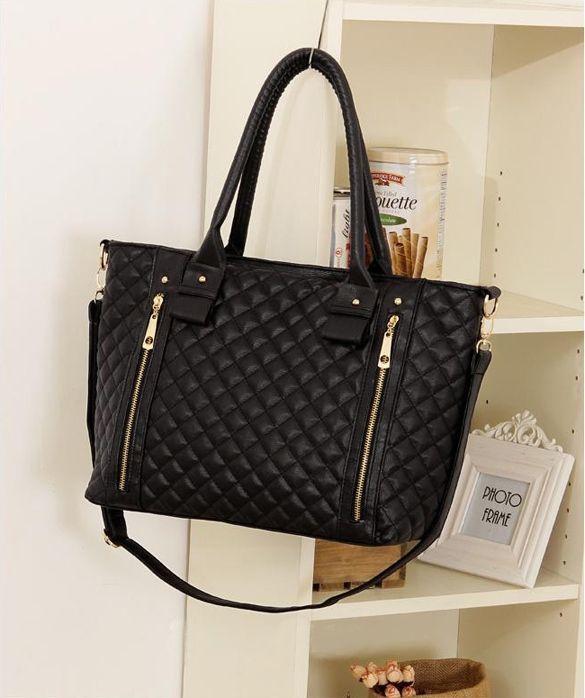 06e3e7e9ee Black Retro Women Office Lady Quilted Shoulder Tote Bag Handbag ...