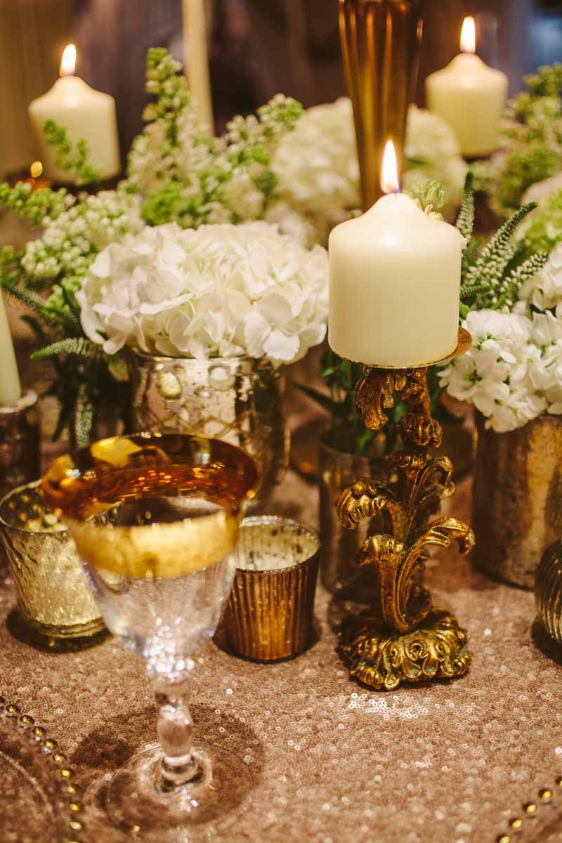 Gold Wedding Centrepieces Add Lots Of Vases And Vessels Around The Base Candelabra For