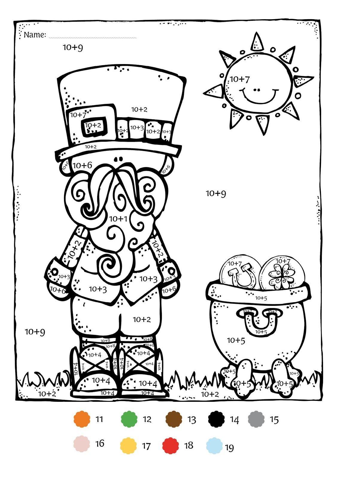 Saint Patrick\'s Day Math Activities For Kindergarten. St Patricks ...
