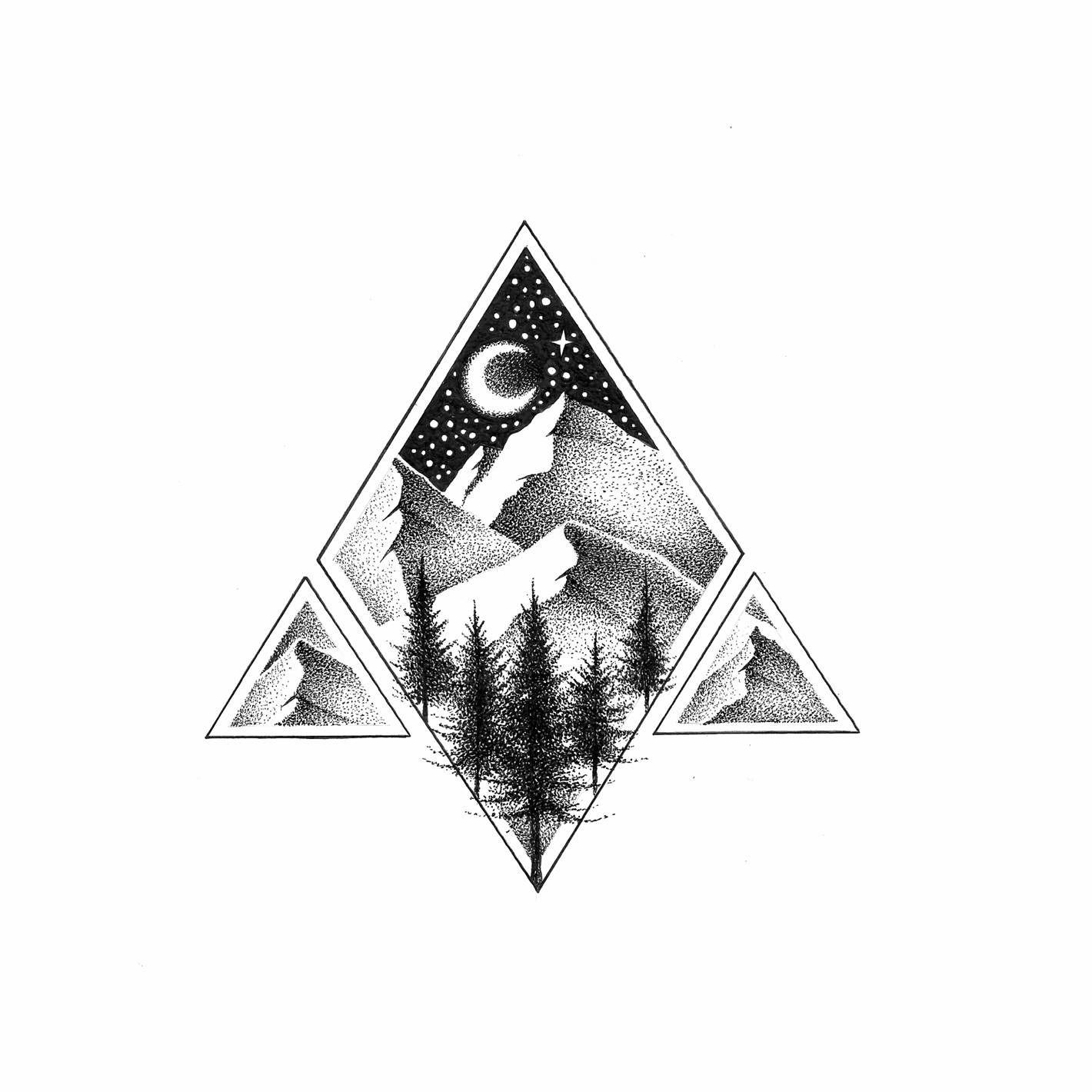 NORTHERN MOUNTAINS III ORIGINAL ILLUSTRATION Copic
