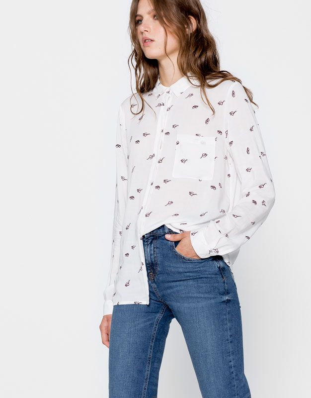 124f0ee558b2 Pull&Bear - mujer - ropa - blusas y camisas - estampadas - camisa ...