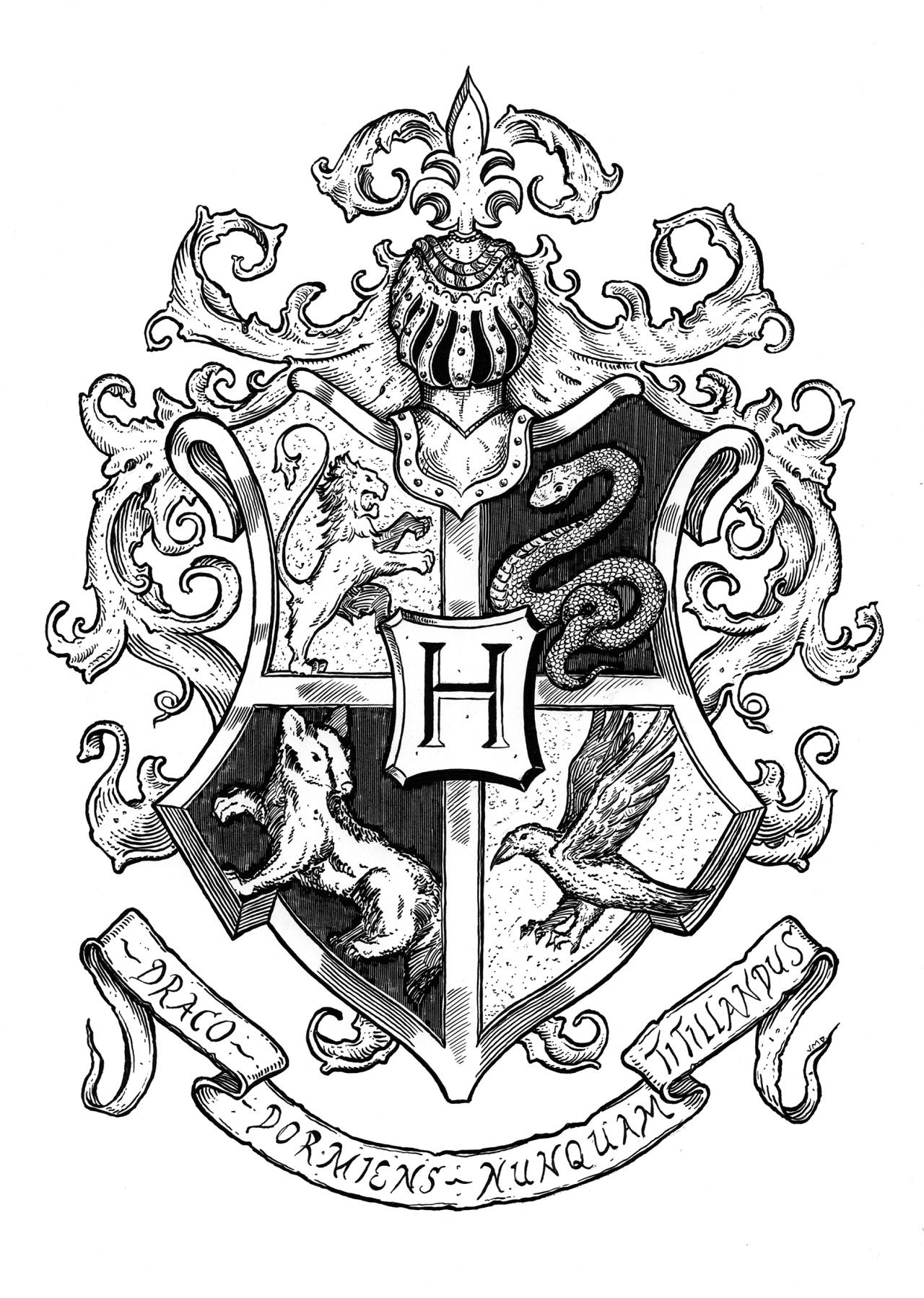 Did a Harry Potter Crest for fun | Blason harry potter ...