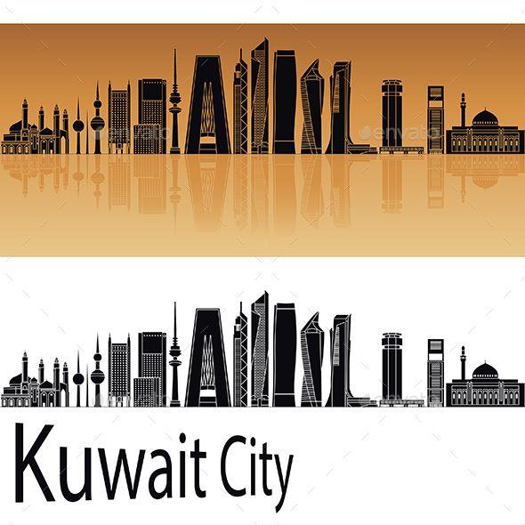Kuwait City V2 Skyline In Orange Kuwait City Kuwait City Skyline