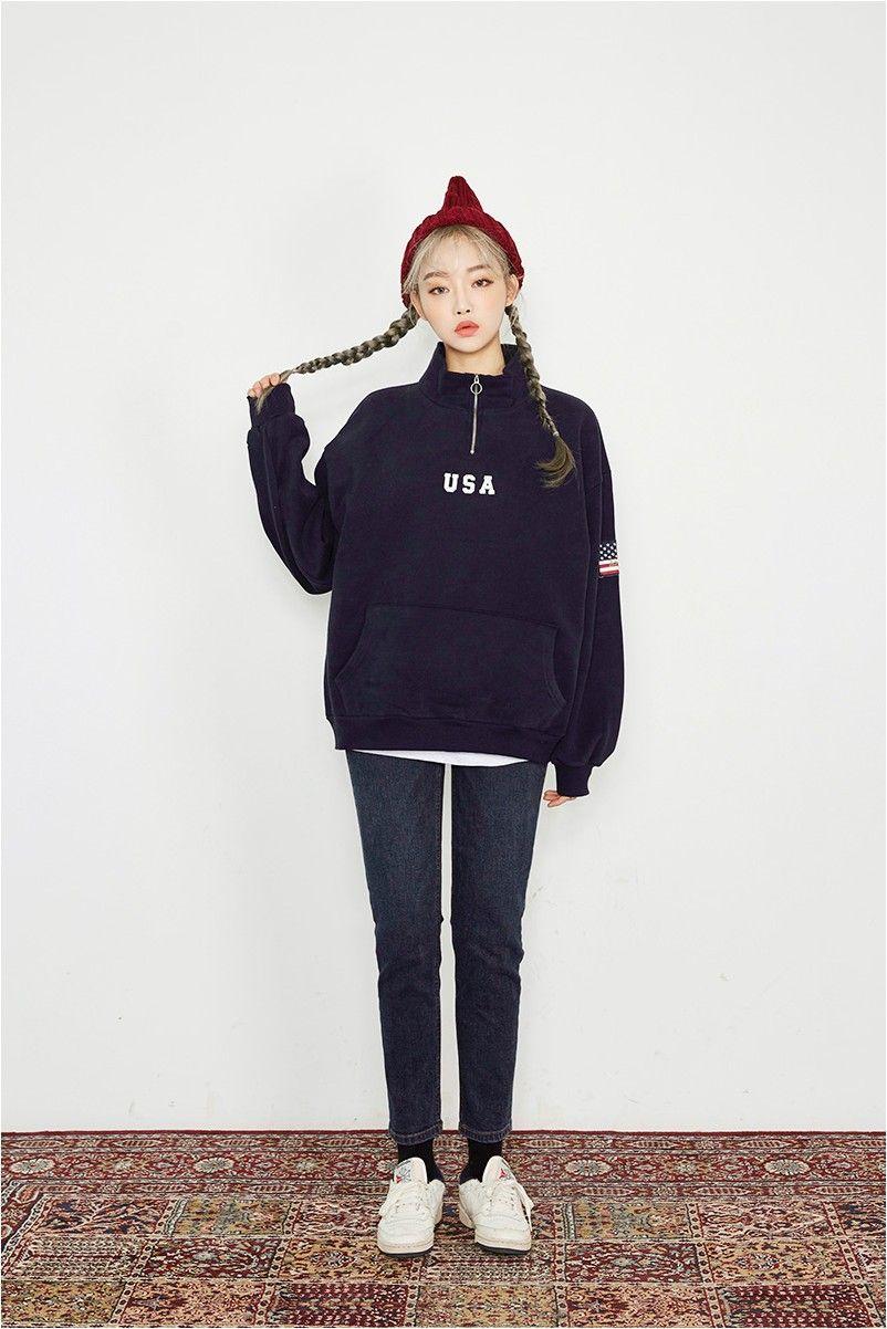 Deep Blue Crop Straight Jeans  Korean Fashion  Korean fashion