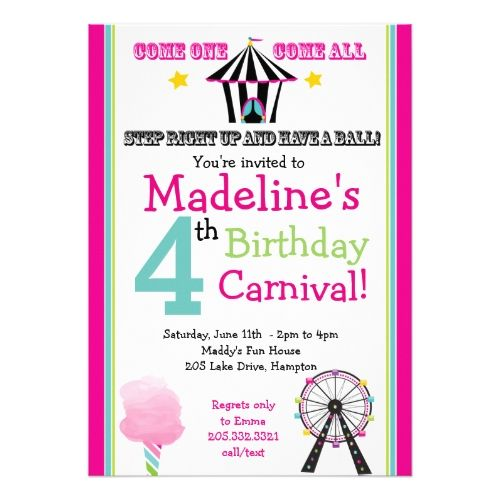 Circus birthday invitations fun games girls carnival party circus birthday invitations fun games girls carnival party invitation stopboris Image collections