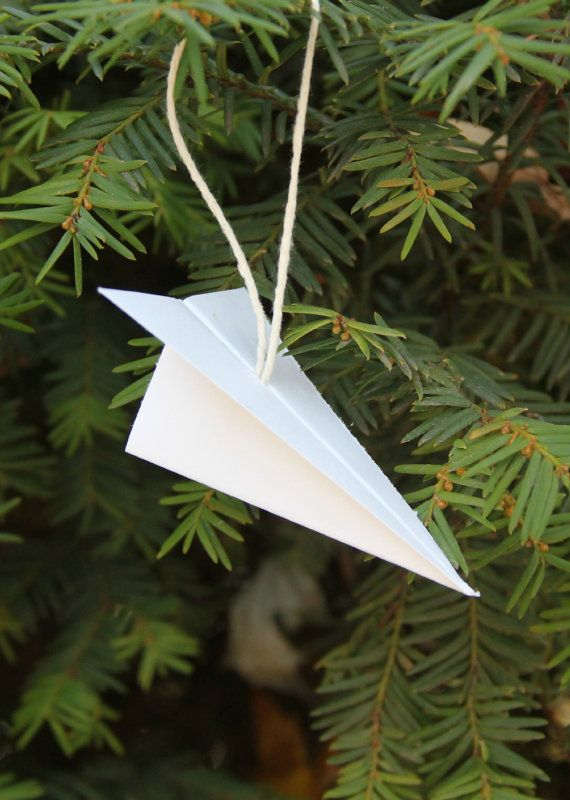 Set Of 6 Paper Airplane Ornaments By Virginiaave On Etsy Diy Christmas Tree Ornaments Paper Airplanes Christmas Prints