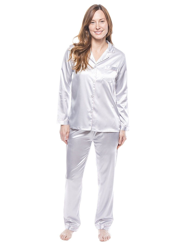 8bbf0b0b2d Twin Boat Women s Satin Pajama Sleepwear Set - Light Grey ...