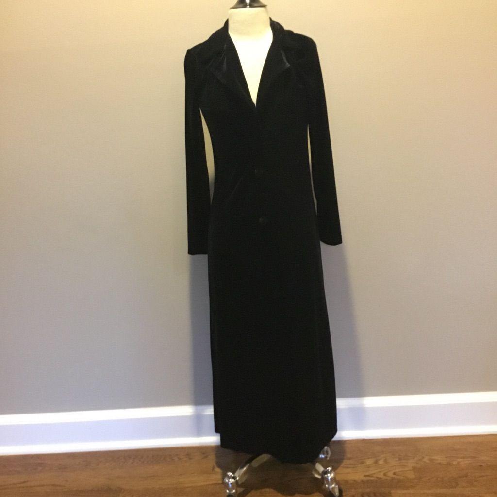 Cain long black velvet dusterjacket duster jacket long black and