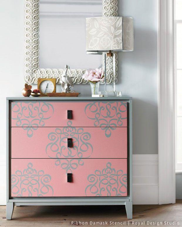Mueble tuneado con plantilla estarcido y bonito espejo | ESPEJOS ...