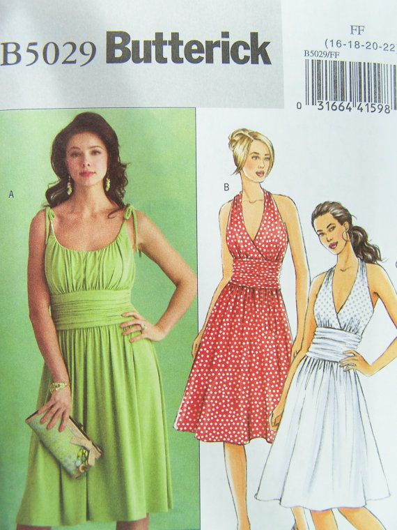 Butterick B5029 Sewing Pattern - Women s Gathered Bodice Dress, Bridesmaid  Halter Dress with Flared Skirt, Easy Sewing Plus Size Pattern 4d55d70a23