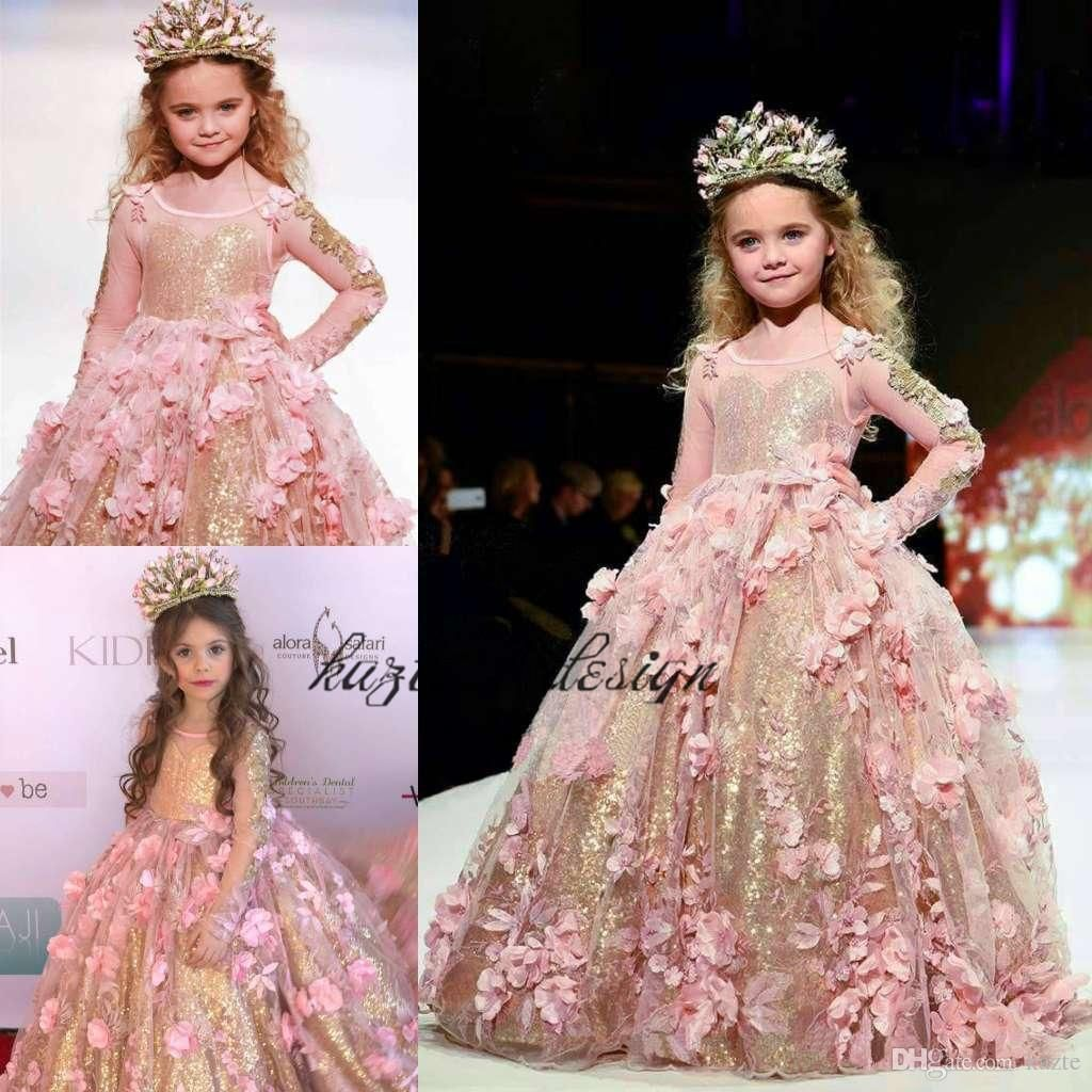 Blush Gold Sequined Ball Gown Girls Pageant Dresses Long Sleeves ...
