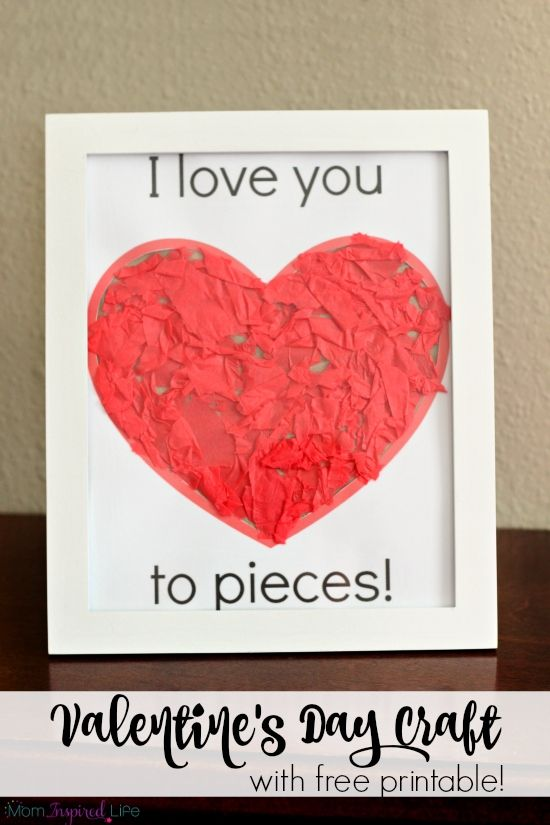 I Love You To Pieces Valentine S Day Craft Activity All Things