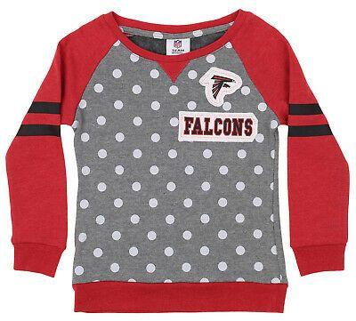 OuterStuff NFL Youth Girls Team Logo Polka Dot Print Crew Atlanta Falcons