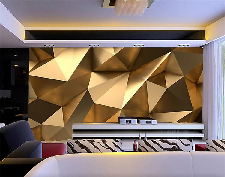 custom photo wallpaper 3d stereo abstract space golden geometry