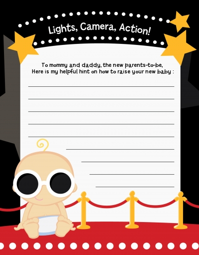 A Star Is Born Hollywood Baby Shower Notes Of Advice Advice