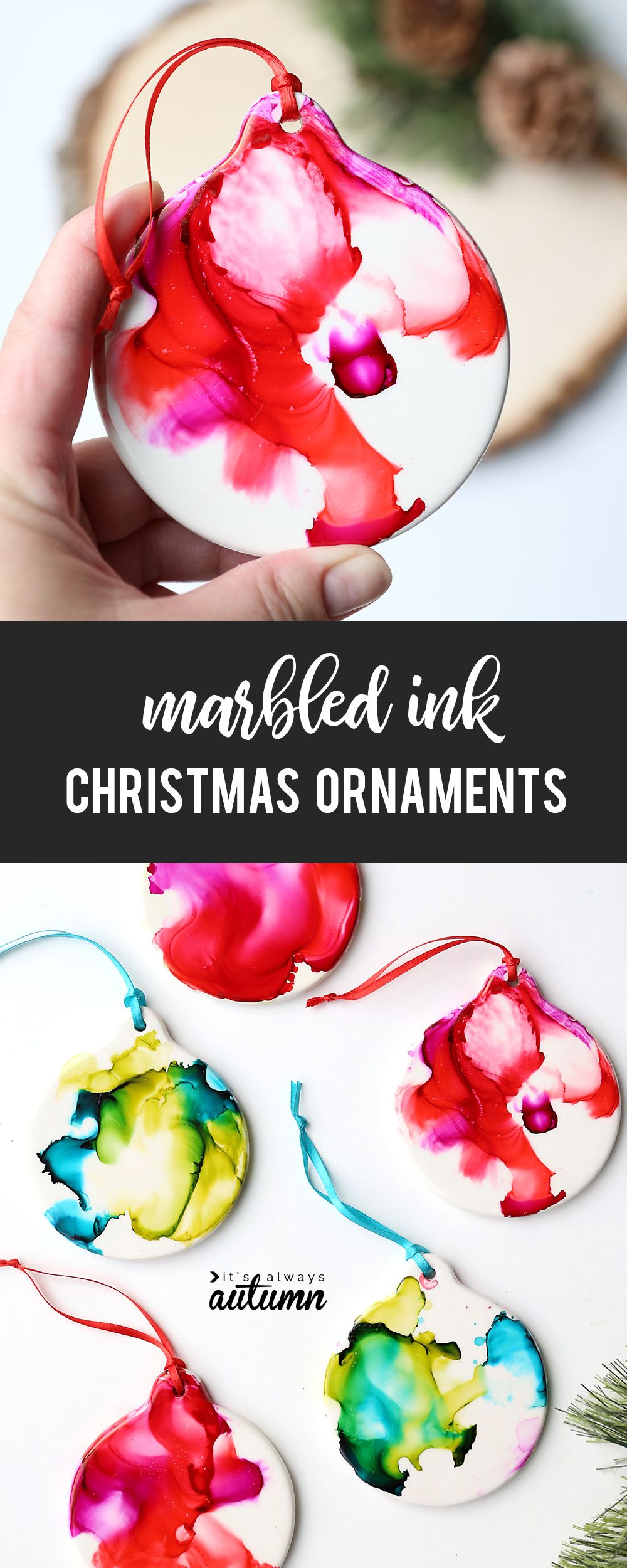 Make pretty marbled Christmas ornaments with ink and FIRE! - It's Always Autumn