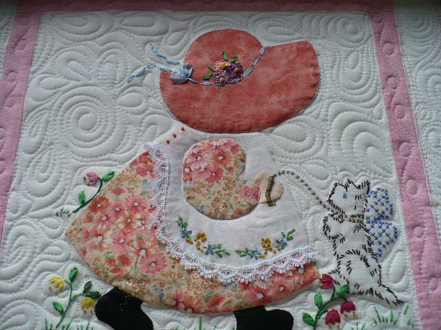 I quilted this lovely Sun Bonnet Sue quilt for Anna who lives in Salmon ID. #sunbonnetsue I quilted this lovely Sun Bonnet Sue quilt for Anna who lives in Salmon ID. #sunbonnetsue