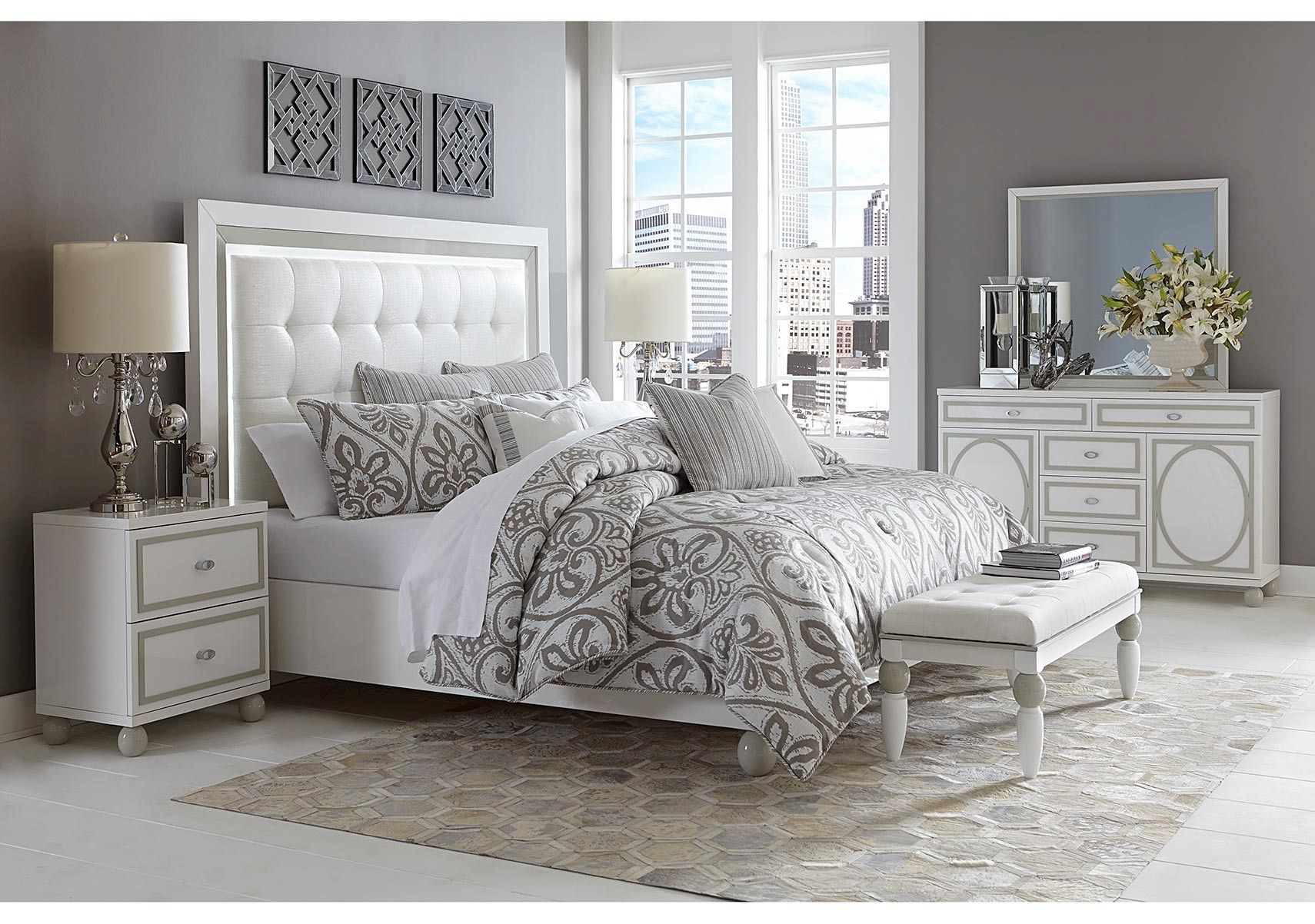 Lacks Sky Tower Pc Queen Bedroom Set Contemporary Style Home