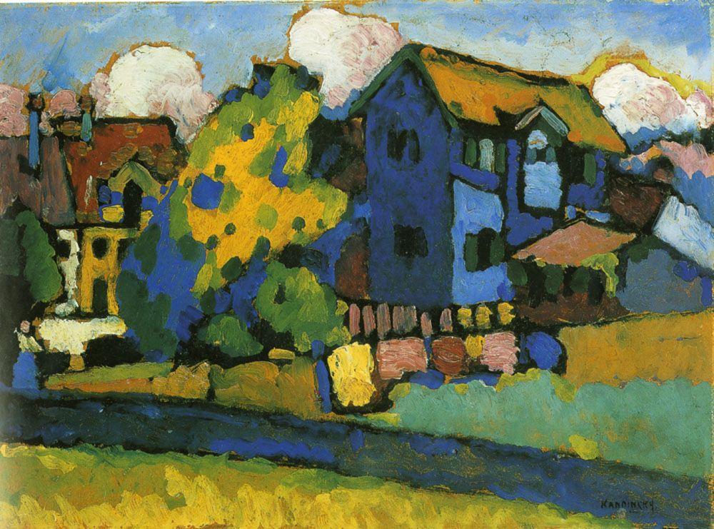 Blaues Haus und Gelber Klang. Wassily Kandinsky, Murnau mit blauem 1908
