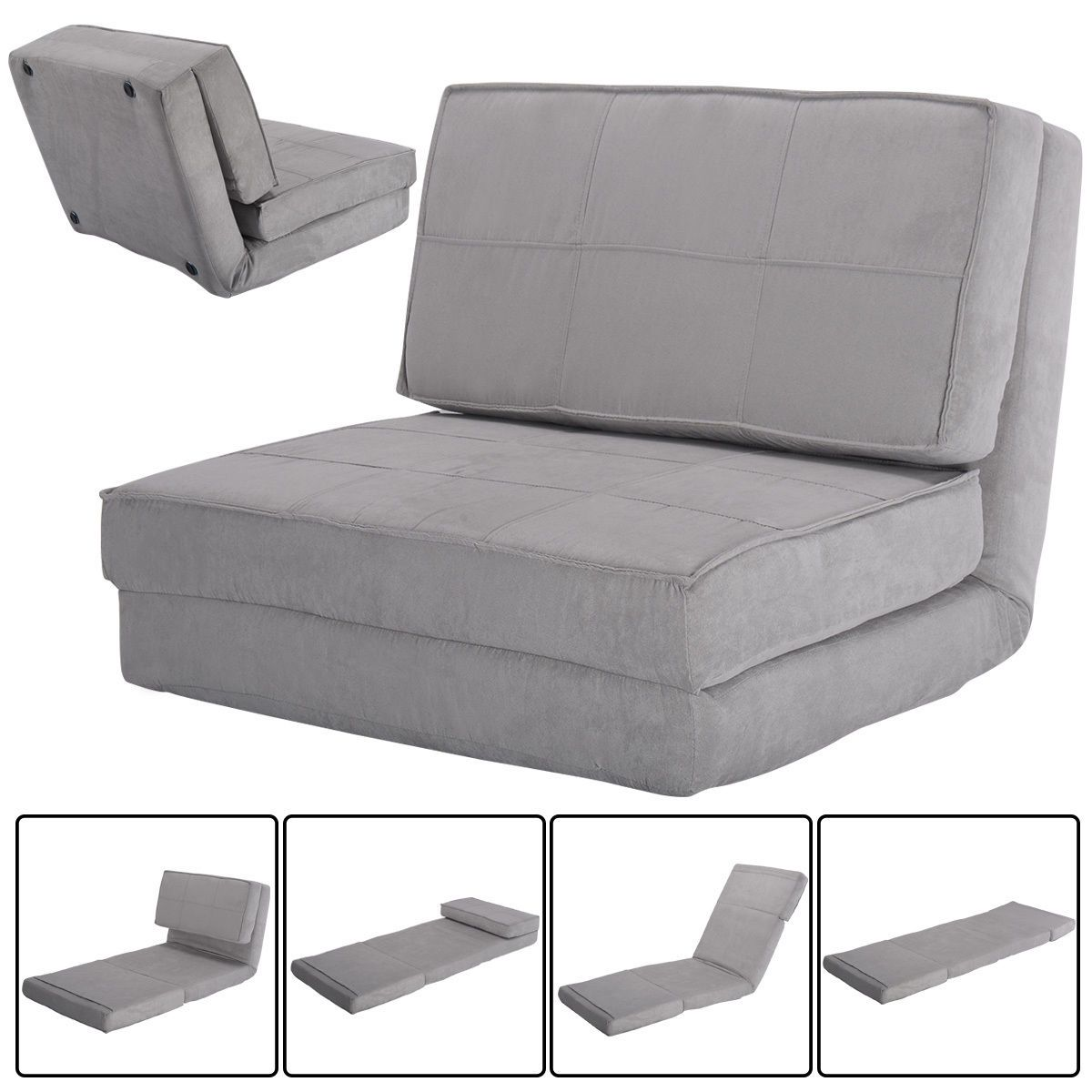 Convertible Lounger Folding Sofa Sleeper Bed In